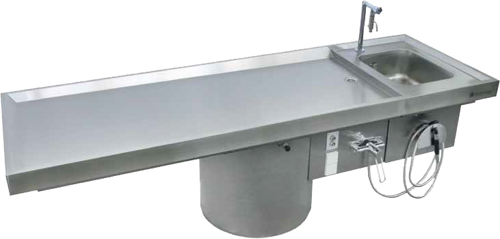 AUTOPSY TABLE with vertical adjustment and basin