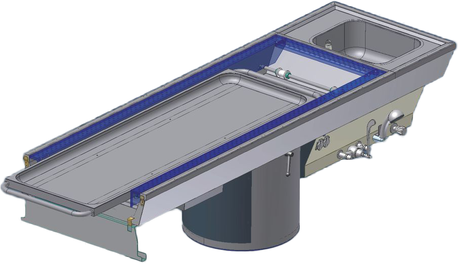 Autopsy table ATF-260 V fixed with integrated down-draft system