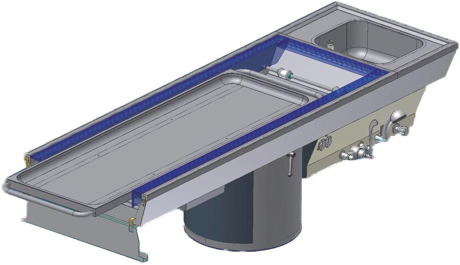 Autopsy table ATV-260 RO/V roll in height adjustable with integrated down-draft system