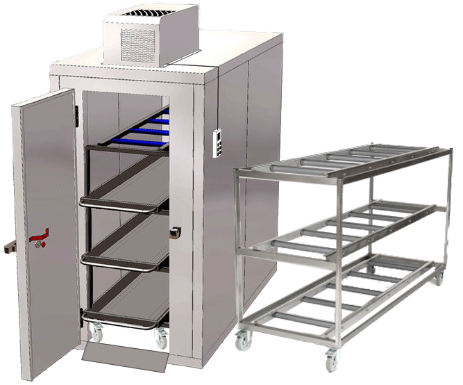 Mortuary refrigerators rack loading